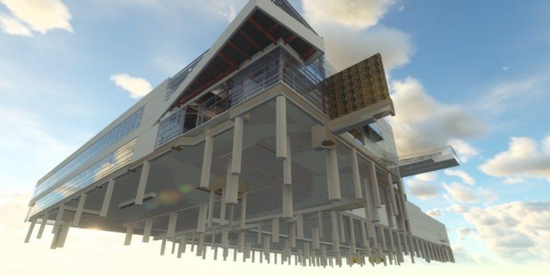 Data center construction piers render